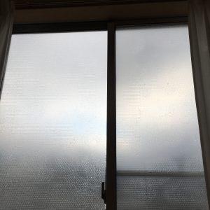 窓に貼ったプチプチ